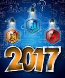 2017 New Year Infographic and Business Plan Background for your Flyers. And Hand Drawn Business and infographic sketches Stock Photos