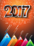 2017 New Year Infographic and Business Plan Background for your Flyers Stock Photography