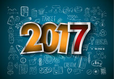 2017 New Year Infographic and Business Plan Background for your Flyers. And Hand Drawn Business and infographic sketches Royalty Free Stock Photography