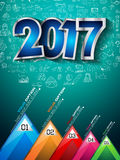 2017 New Year Infographic and Business Plan Background for your Flyers. And Hand Drawn Business and infographic sketches Royalty Free Stock Photo