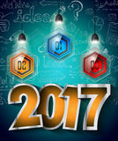 2017 New Year Infographic and Business Plan Background for your Flyers. And Hand Drawn Business and infographic sketches Stock Images
