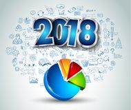 2018 New Year Infographic and Business Plan Backgroundwith hand Royalty Free Stock Image
