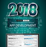 2018 New Year Infographic and Business Plan Backgroundwith hand Stock Photo