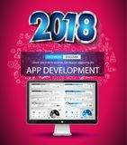 2018 New Year Infographic and Business Plan Backgroundwith hand Stock Photos