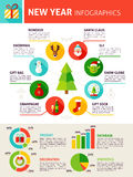 New Year Infographics. Flat Design Vector Illustration of Winter Concept with Text Royalty Free Stock Photography