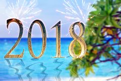 New Year inscription 2018  on the beach. New Year inscription 2018 on the beach Stock Image