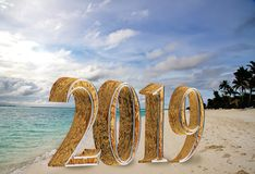 New Year inscription 2019 on the beach royalty free stock photo