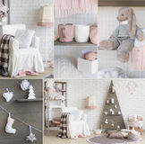 New Year Interior Decoration Collage Stock Photography