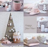 New Year interior decoration collage Royalty Free Stock Image