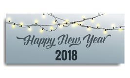New Year 2018 invitation. Card template with glowing garlands and typography. Happy New Year 2018 Royalty Free Stock Photo