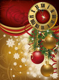 New Year invitation card with xmas clock. Vector Royalty Free Stock Images