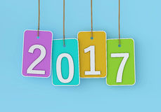 New Year 2017. Isolated on  Background Stock Photo