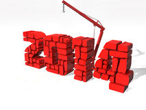 New Year 2014, isolated from the background. Red stock illustration