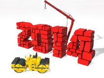 New Year 2014, isolated from the background. Red vector illustration