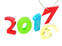 New year 2017 isolated. 3d rendering.  vector illustration