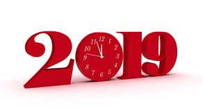 New Year 2019. Isolated on white background Royalty Free Stock Photography