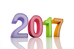 New Year 2017. Isolated on White Background Stock Photo
