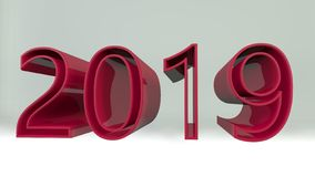 New year 2019 (isolated on white background). 3d rendered illustration. New year 2019 text (isolated on white background). 3d rendered vector illustration