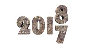 New Year 2018, isolated on white. 3D Rendering Royalty Free Stock Photos