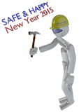 New Year Job Safety Image with Robot Builder Royalty Free Stock Photo