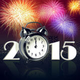 New year 2015. Jumping alarm clock at midnight of new year eve with fireworks vector illustration