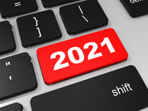 2021 new year key on keyboard. 3D illustration Stock Images
