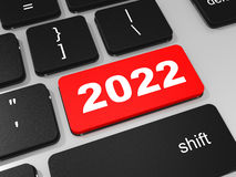 2022 new year key on keyboard. 3D illustration Stock Photo