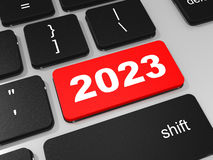 2023 new year key on keyboard. Stock Photography