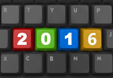 2016. New year key on red keyboard 3D stock illustration