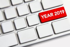 New year 2019 on the keyboard royalty free stock photo