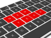 New Year Keys. Red new year keys between dark keys Stock Image
