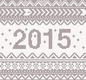 New year knitted background with ornament. New year beige knitted background with ornament Vector illustration Stock Illustration