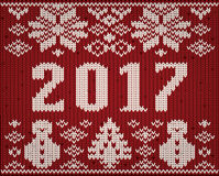 2017 new year knitted background, vector. Illustration Royalty Free Stock Images