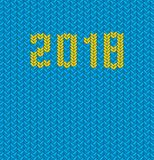 2018 New Year knitted blue template background. poster Christmas. Vector illustration of holiday royalty free illustration