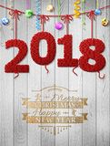 New Year 2018 knitted fabric as christmas decoration Royalty Free Stock Photography