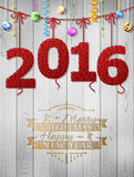 New Year 2016 knitted fabric as christmas decoration Royalty Free Stock Photos