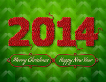 New Year 2014 of knitted fabric on green backgroun Royalty Free Stock Image