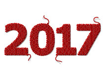 New Year 2017 of knitted fabric  on white background Stock Photo