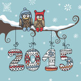 New year knitted figures,owl,branch. Christmas ,new year card.Cute cartoon owl couple sitting on branchrKnitted figures 2015 hanging on the ropes.Funny doodles Royalty Free Stock Photos