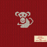 New Year Knitted Pattern Card with Monkey. Knitted pattern card with funny monkey. Chinese zodiac symbol of New Year 2016 Stock Image