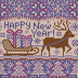 New year Knitted pattern with reindeer Royalty Free Stock Photography