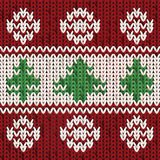 New year knitted pattern with xmas tree, vector. Illustration royalty free illustration