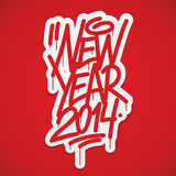 New year 2014 label lettering Stock Image