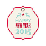 New year 2015 label with reindeer Stock Photo