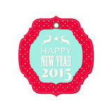 New year 2015 label with reindeer. Label with reindeer, star and text Happy new year 2015, isolated on white background, vector illustration, eps 10 Royalty Free Stock Photography