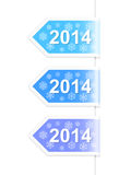 New Year 2014 labels. Vector illustration. Set of New Year 2014 labels on snowy background. Vector illustration Royalty Free Stock Photography
