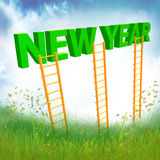 New Year ladder illustration Stock Photos