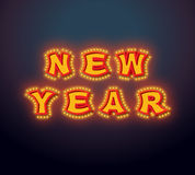 New Year with lamps vintage sign. Glowing letters. Vintage shiny. Lettering bulbs. garland for Christmas. Retro pointer with light bulb. Luminous signboard Stock Photos