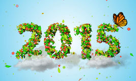 2015 New Year Leaves Particles orange Butterfly 3D Royalty Free Stock Photos