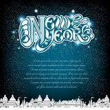 New year lettering on blue background with white town stock illustration